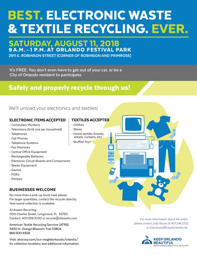A1 Assets City Of Orlando Host Electronic Recycling Drive 8 11 Printed Circuit Board Equipment View Bring Your Old Computers Phones And Other Electronics Or Items Clothing They Will Be Recycled For Free The Flyer Below More Details